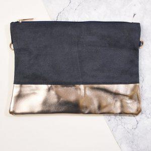 Grey & Champagne Clutch Bag