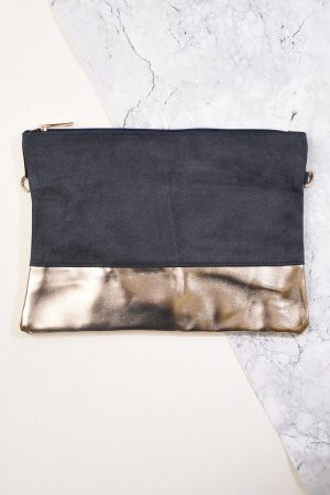 Grey & Champagne Clutch Bag