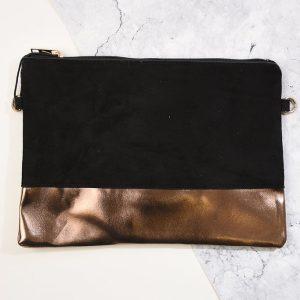 Black Suede & Copper Clutch Bag