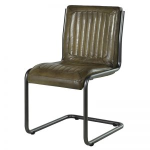 Metal Frame Olive Leather Chair