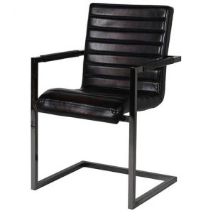 Liquorice Leather Carver Chair