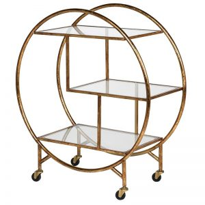 Deco Gold Brass Drinks Trolley