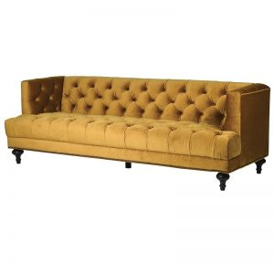 Ochre Velvet Button Back Sofa