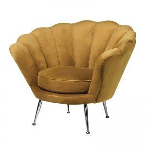 Mustard Velvet Petal Chair