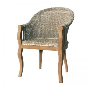 Sea Grass and Mahogany Carver Chair