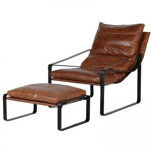 Tan Leather Relaxer Chair and Stool