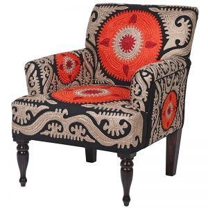 Orange & Black Crewelwork 'Berere' Chair