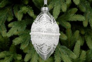 Glass Drop Hanging Bauble with White Lace