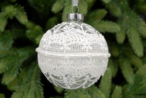 Clear Glass Hanging Bauble with Lace