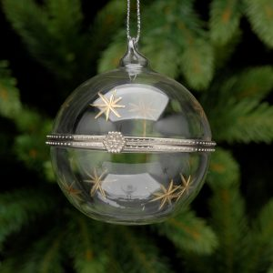 Snow Flake Glass Trinket Hanging Bauble