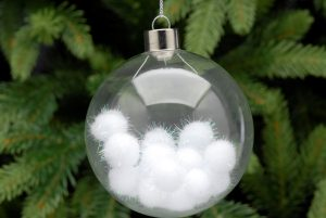 Glass Hanging Bauble with Pom Pom's
