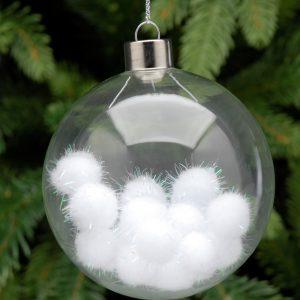 Glass Hanging Bauble with Pom Pom's