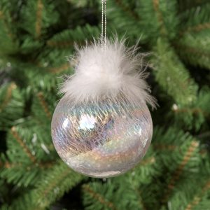 Pearls & Feathers Glass Hanging Bauble