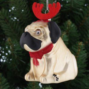 Christmas Pug Hanging Decoration