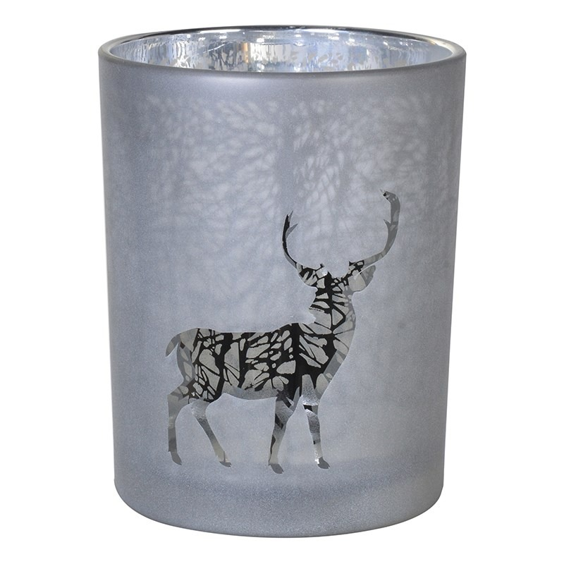 Silver Medium Forest Deer Candle Holder