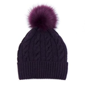 Plum Cable Wool Hat with Faux Fur Pom Pom