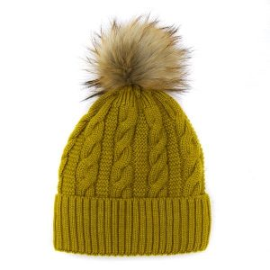 Mustard Cable Wool Hat with Faux Fur Pom Pom
