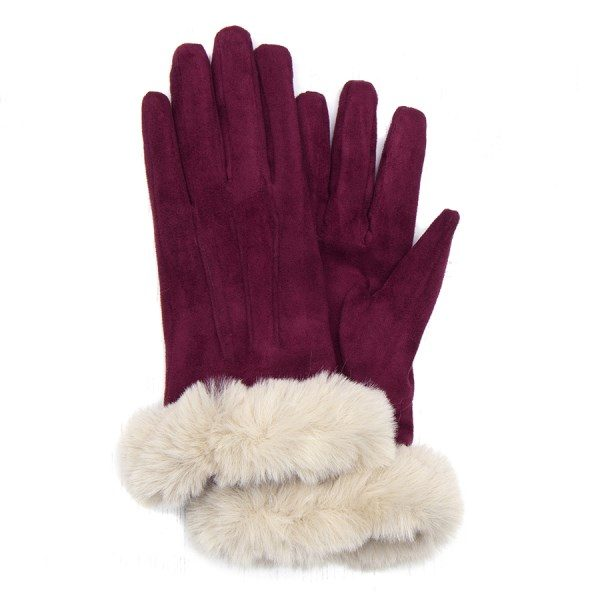 Dark Red Microfibre Gloves with Faux Fur Trim