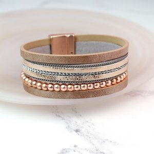 Leather Mixed Metal Bracelet