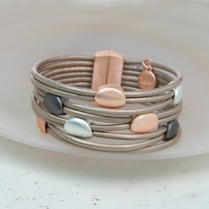 Taupe Leather Pebbles Bracelet