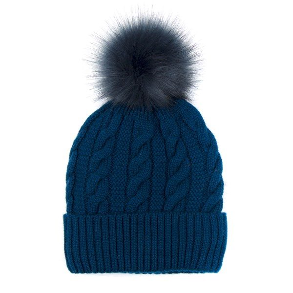 Petrol Cable Wool Hat with Faux Fur Pom Pom
