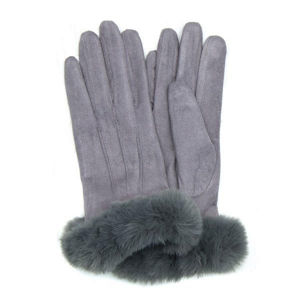 Grey Microfibre Gloves with Faux Fur Trim