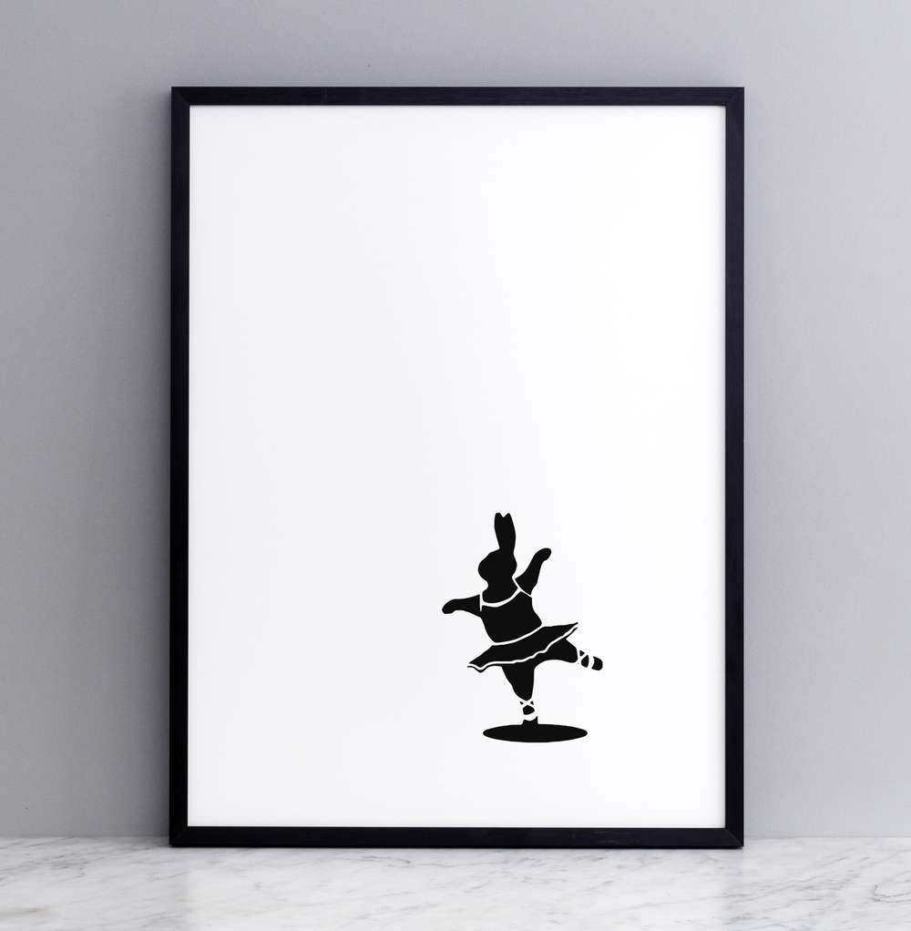 Framed Ballet Dancing Rabbit Print