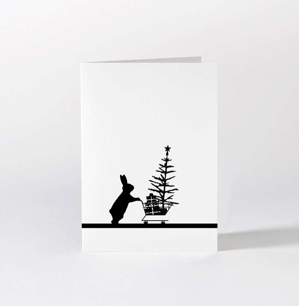 Christmas Shopping Rabbit Card