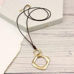 Worn Gold Square Hoop Pendant