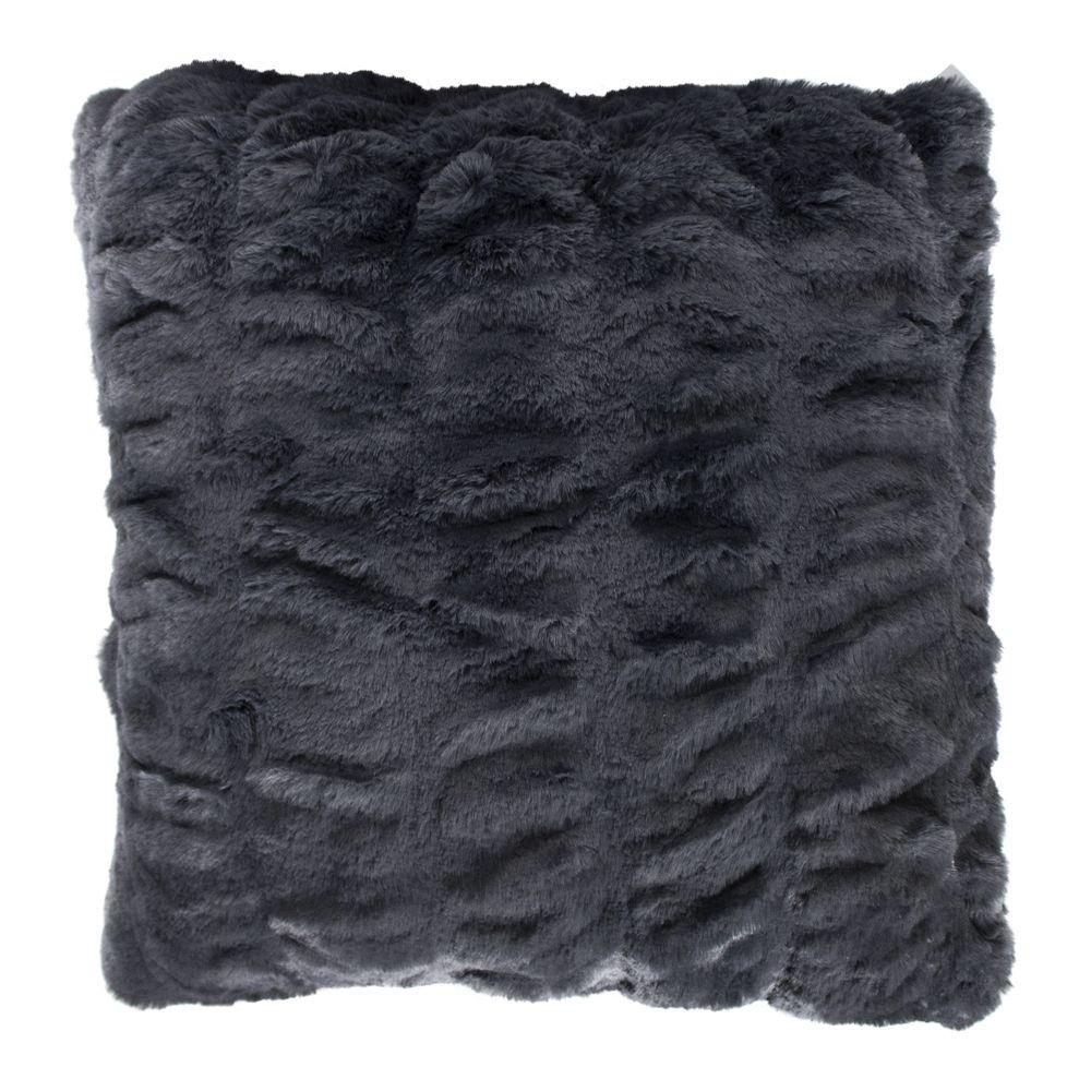 Luxury Grey Faux Fur Chinchilla Cushion 45x45cm