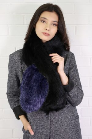 Black & Navy Two Tone Long Faux Fur Collar
