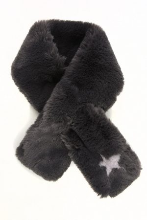Dark Grey Faux Fur Collar with Grey Star