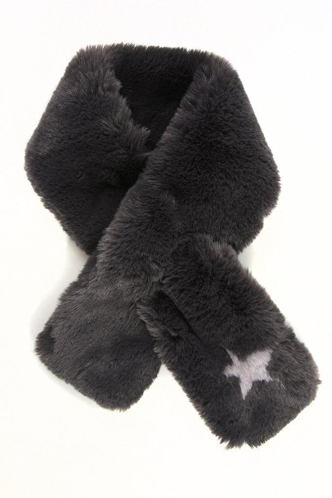 Dark Grey Faux Fur Collar with Grey Star
