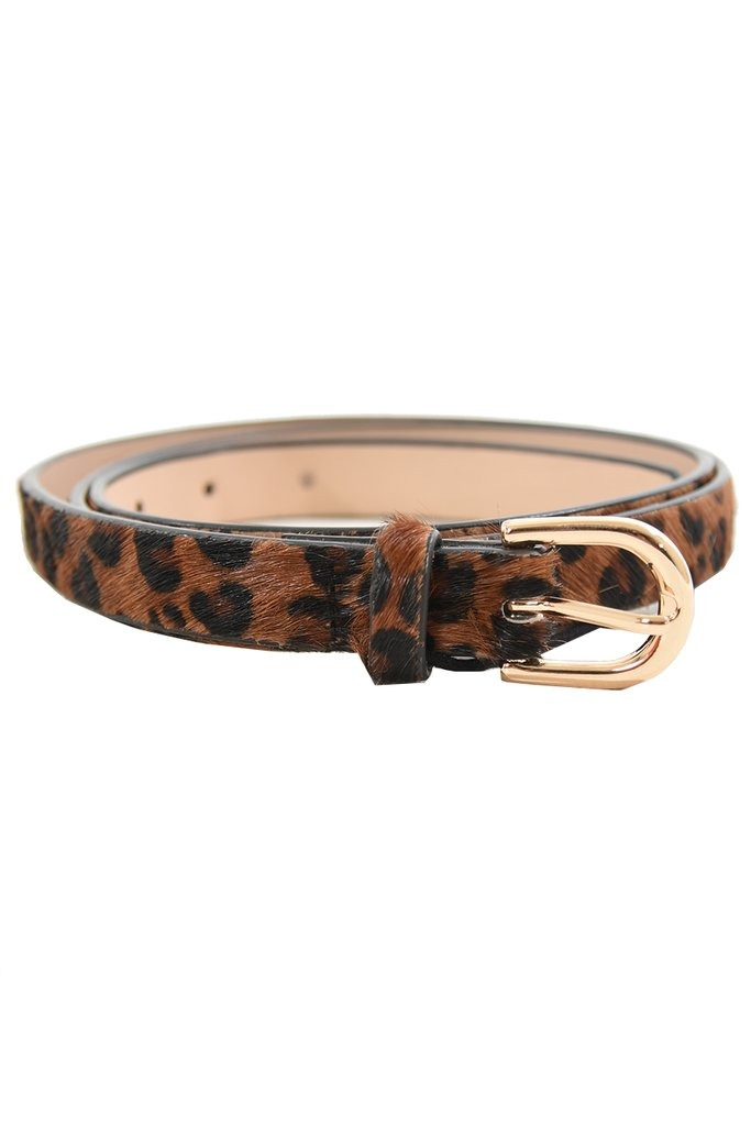 Leopard Print Leather Belt Natural