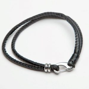 Men's Twin Strand Black Leather Bracelet