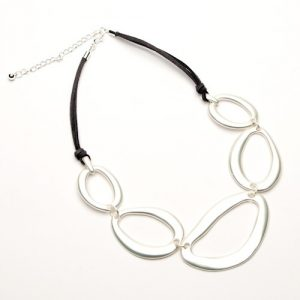 Suede Necklace with Multi Ring Decoration