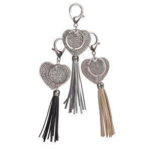 Double Sided Heart Key Ring with Tassel