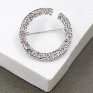 Open Circle Crystal Brooch