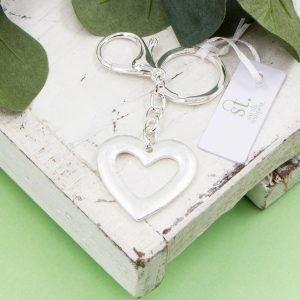 Open Heart Silver Key Ring