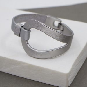 Silver Leather Bracelet with Metal Feature