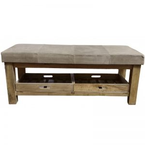 Grey Leather & Wood Storage Bench