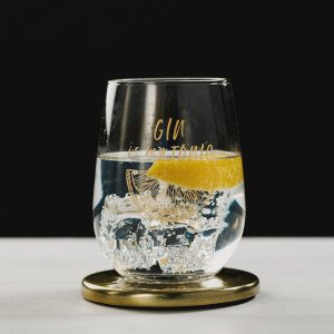 Gold Gin is my Tonic Engraved Glass Tumbler with Gold Coaster