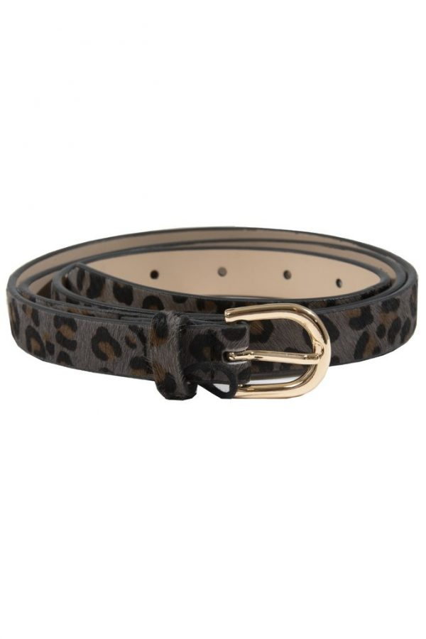Leopard Print Leather Belt Grey