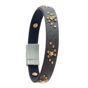 Grey Leather Bracelet with Bronze Stars