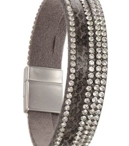 Leather Snake Print Bracelet with Crystals