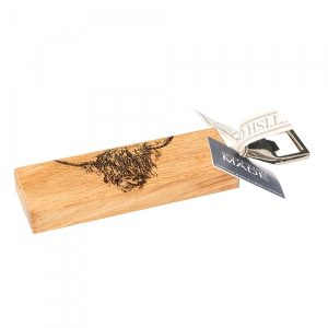 Etched Highland Cow Oak Bottle Opener