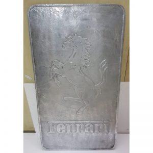 Silver Ferrari Metal Sign