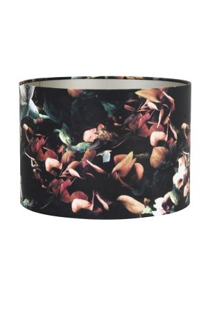 Floral Print Velour Cylinder Shade