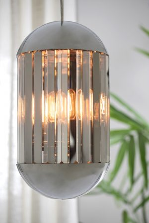 Grayson Chrome & Smoked Glass Pendant Lamp