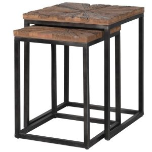 Set of 2 Rustic Wood Top Side Tables